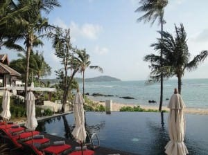 Anantara Lawana Resort &amp; Spa infinity pool and Chaweng beach view